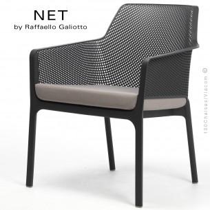 Fauteuil lounge NET relax, structure et assise plastique couleur anthracite.