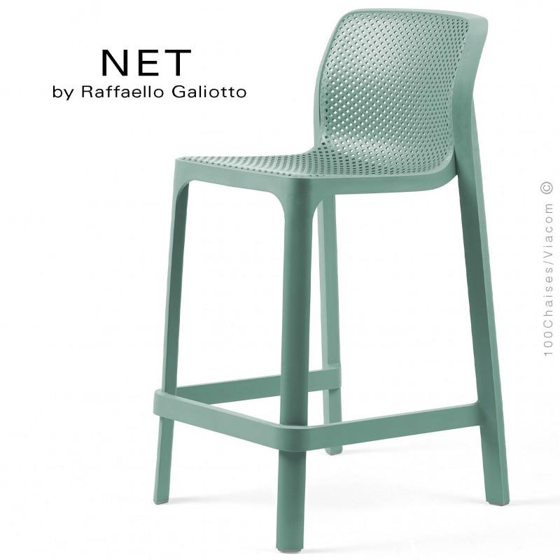 Tabouret de cuisine NET, sturcture et assise plastique couleur vert.