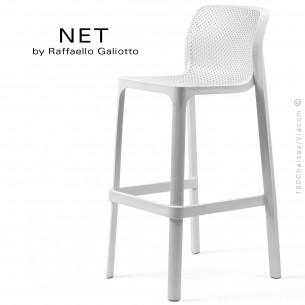 Tabouret de bar NET, sturcture et assise plastique couleur blanc.