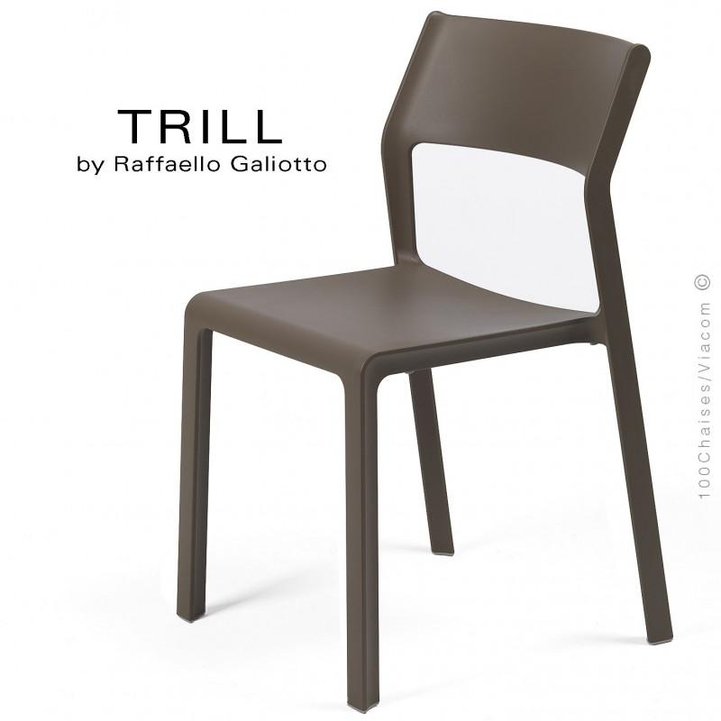 Chaise TRILL, sturcture et assise plastique couleur marron.