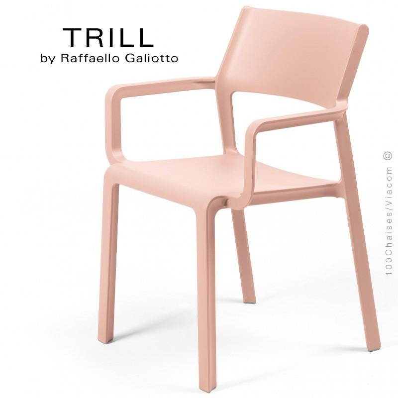 Fauteuil design TRILL, sturcture et assise plastique couleur rose.
