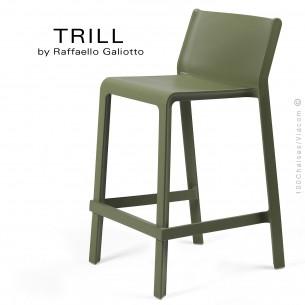Tabouret de cuisine design TRILL, sturcture et assise plastique couleur vert.