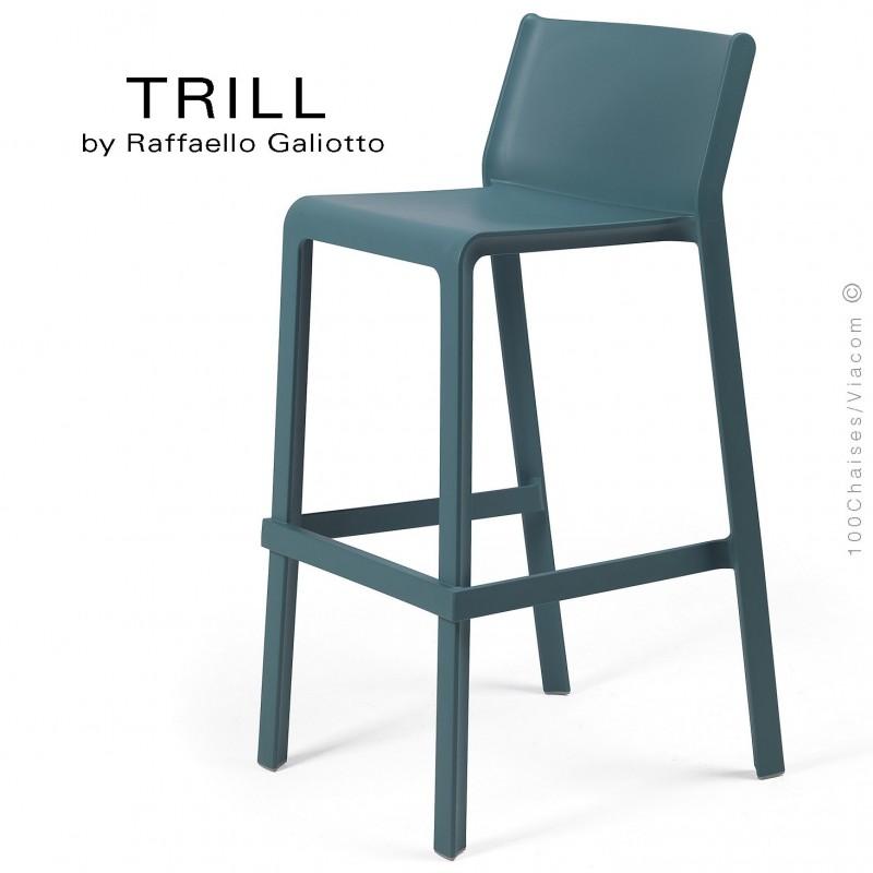 Tabouret de bar design TRILL, sturcture et assise plastique couleur bleu.