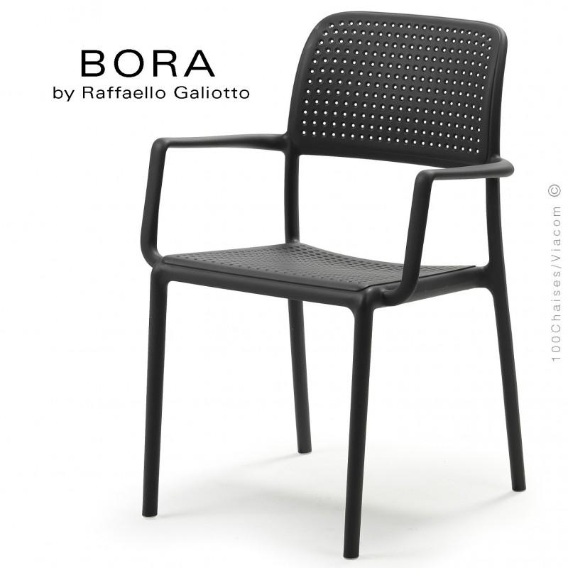 Fauteuil design BORA, sturcture et assise plastique couleur anthracite.