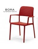 Fauteuil design BORA, sturcture et assise plastique couleur rouge.