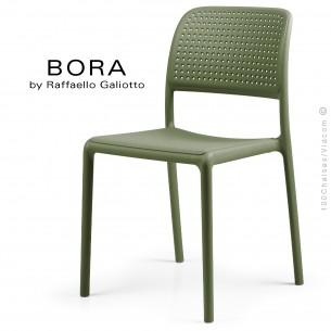 Chaise design BORA, sturcture et assise plastique couleur vert.