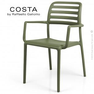 Fauteuil design COSTA, sturcture et assise plastique couleur vert.