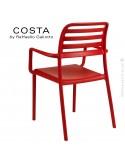 Fauteuil design COSTA, sturcture et assise plastique couleur rouge.