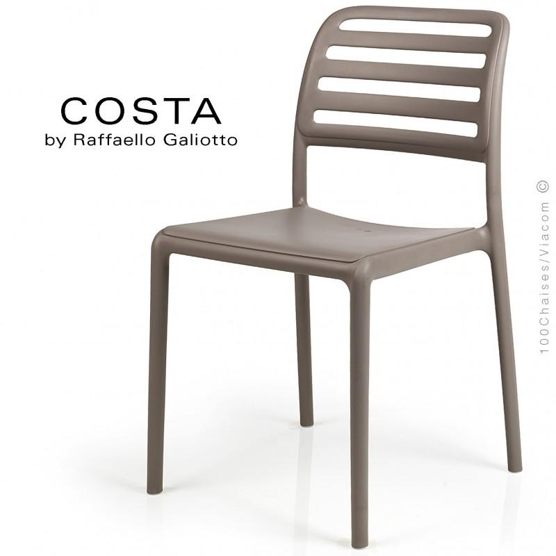 Chaise design COSTA, sturcture et assise plastique couleur gris tourterelle.