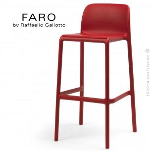 Tabouret de bar FARO, sturcture et assise plastique couleur rouge.