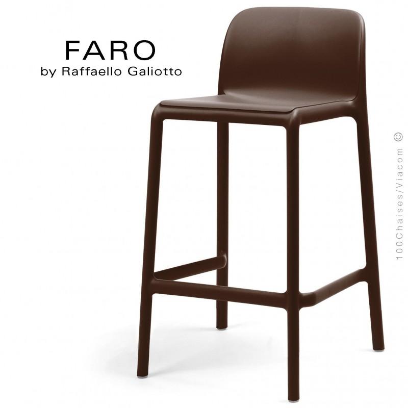 Tabouret de cuisine FARO, sturcture et assise plastique couleur café.