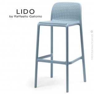 Tabouret de bar LIDO, sturcture et assise plastique couleur bleu clair.