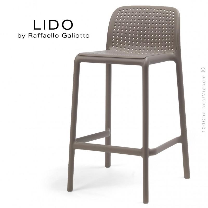 Tabouret de cuisine LIDO, sturcture et assise plastique couleur gris tourterelle.