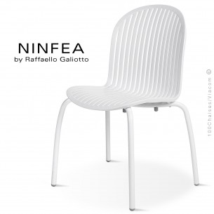Chaise NINFEA, pietement aluminium, assise plastique, couleur blanc.