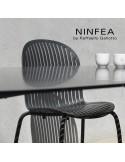 Collection NINFEA, pietement aluminium, assise plastique.