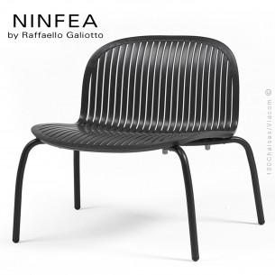 Chaise lounge NINFEA relax, pietement aluminium, assise plastique couleur noir.