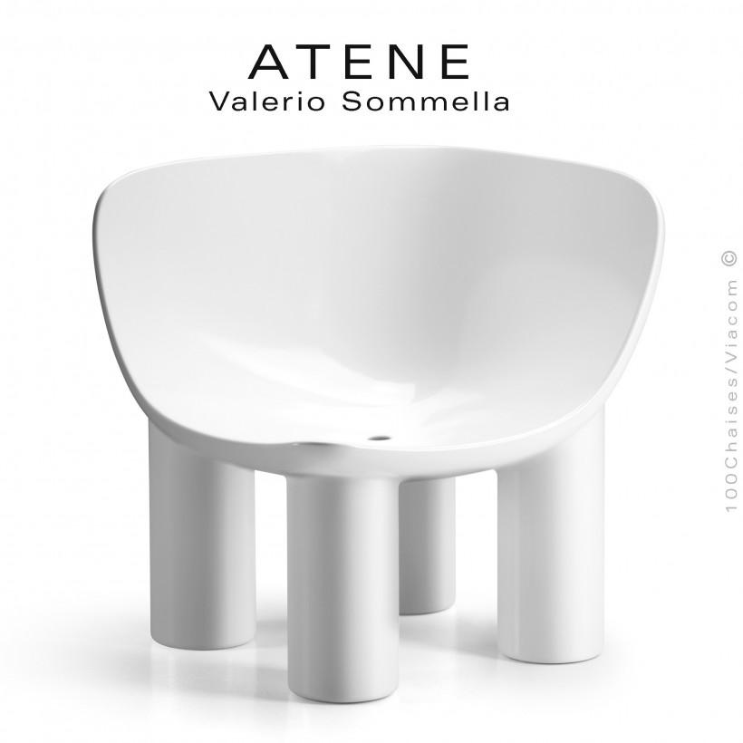 Fauteuil ou module banquette d'angle lounge ATENE, structure monobloc plastique couleur blanc.