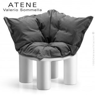 Fauteuil ou module banquette d'angle lounge ATENE, structure monobloc plastique couleur blanc avec coussin.