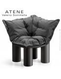 Fauteuil ou module banquette d'angle lounge ATENE, structure monobloc plastique couleur noir avec coussin.