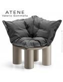 Fauteuil ou module banquette d'angle lounge ATENE, structure monobloc plastique couleur crème avec coussin.