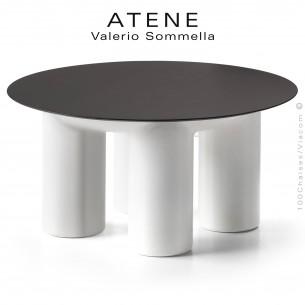 Table basse ronde design ATENE, structure monobloc plastique couleur blanc , plateau rond HPL Ø80 cm. couleur noir.
