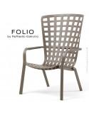 Fauteuil bergère FOLIO, structure et assise plastique gris tourterelle.