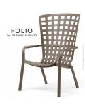 Fauteuil bergère FOLIO, structure et assise plastique marron.