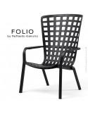 Fauteuil bergère FOLIO, structure et assise plastique noir.