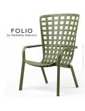Fauteuil bergère FOLIO, structure et assise plastique vert.