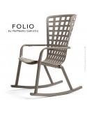 Fauteuil à bascule design FOLIO, structure et assise plastique gris tourterelle.