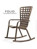 Fauteuil à bascule design FOLIO, structure et assise plastique marron.