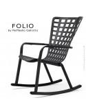 Fauteuil à bascule design FOLIO, structure et assise plastique noir.
