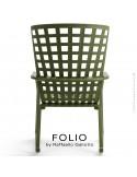 Fauteuil à bascule design FOLIO, structure et assise plastique vert.