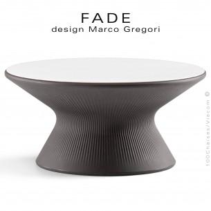 Table basse ronde design FADE, structure plastique couleur granite avec plateau compact HPL blanc.