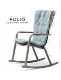 Fauteuil à bascule design FOLIO, structure et assise plastique gris tourterelle, avec coussin tissu bleu.