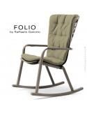 Fauteuil à bascule design FOLIO, structure et assise plastique gris tourterelle, avec coussin tissu vert.