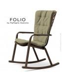 Fauteuil à bascule design FOLIO, structure et assise plastique marron, avec coussin tissu vert.