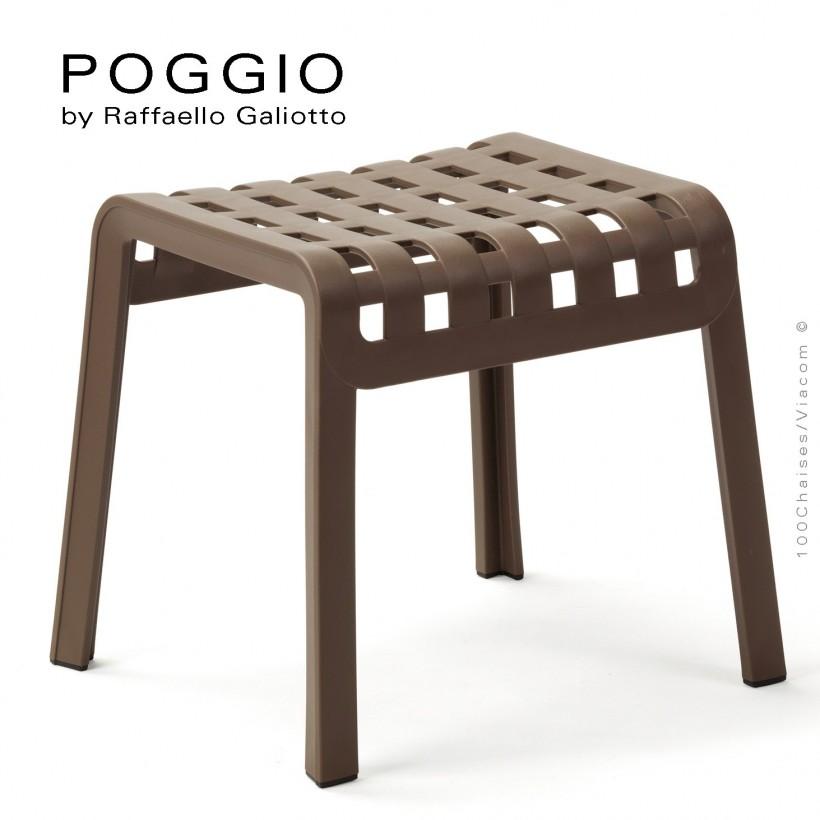 Tabouret, repose-pied design POGGIO, structure et assise plastique marron.