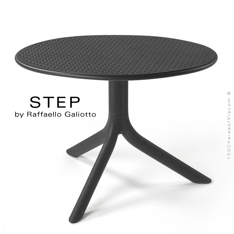 Table basse STEP, plateau rond plastique ajouré, piétement colonne centrale plastique anthracite.