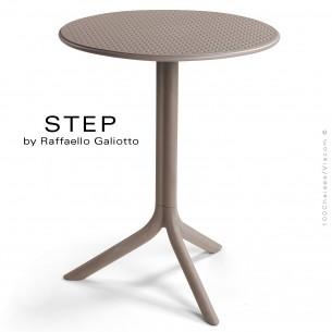 Table STEP, plateau rond plastique ajouré, piétement colonne centrale plastique gris tourterelle.