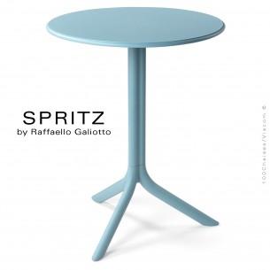 Table SPRITZ, plateau rond plastique plein, piétement colonne centrale plastique bleu.