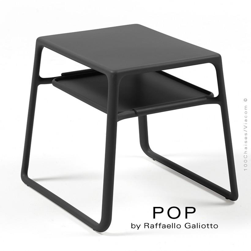 Table basse POP, plateau rectangulaire plastique, piétement luge plastique anthracite.