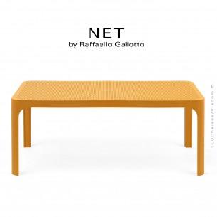 Table basse NET, structure 4 pieds plastique, plateau rectangulaire ajouré plastique jaune moutarde.