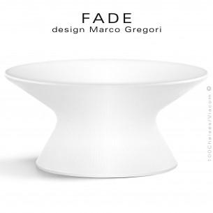 Table basse ronde lumineuse design FADE, structure monobloc plastique blanc, pour terrasse bord de mer ou montage.