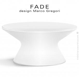 Table basse ronde lumineuse design FADE, structure plastique blanc, avec plateau HPL blanc, pour bord de mer ou montage.