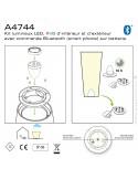 A-4744 : Kit lumineux LED-RVB intérieur/extérieur avec télécommande Bluetooth sur batterie.