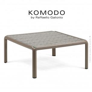 Table basse KOMODO, structure 4 pieds plastique gris tourterelle, plateau carré verre.
