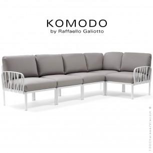 Canapé KOMODO, 5 modules structure plastique blanc, avec coussin tissu gris.