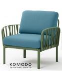 Fauteuil KOMODO, plastique vert, coussin tissu bleu foncé.
