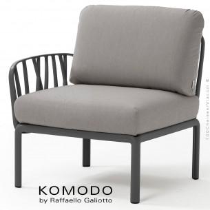 Élément latéral KOMODO, structure plastique anthracite, coussin tissu gris.